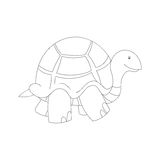 Black and white illustration of cartoon turtle Royalty Free Stock Image