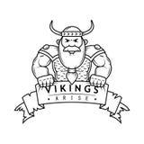 Black and white illustration of cartoon Viking with banner stock illustration