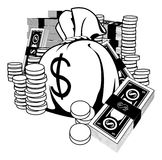 Black and white illustration of cash Stock Images