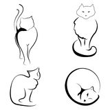 Black and white illustration of cats Stock Image
