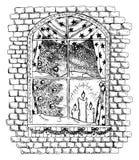 Black and white illustration of Christmas window Royalty Free Stock Image