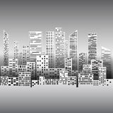 Black and white illustration with city buildings and skyscrapers Stock Photos
