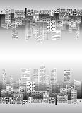 Black and white illustration with city buildings and skyscrapers. Made of paper for infographics, design, cover, card and your creativity Royalty Free Stock Photography
