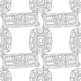 Black and white illustration for coloring book, page. Abstract decorative seamless pattern. Royalty Free Stock Image