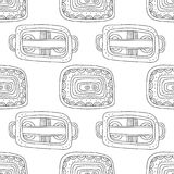 Black and white illustration for coloring book, page. Abstract decorative seamless pattern. Royalty Free Stock Photo