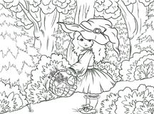 Black and white illustration coloring: Little Red Riding Hood royalty free illustration