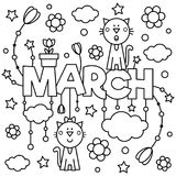 Black and white illustration. Coloring page. Black and white vector illustration. Coloring page. March Royalty Free Stock Photos