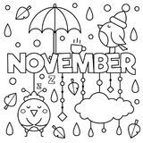 Black and white illustration. Coloring page. Black and white vector illustration. Coloring page. November Royalty Free Stock Images