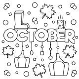 Black and white illustration. Coloring page. Black and white vector illustration. Coloring page. October Royalty Free Stock Photo