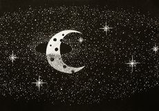 Black and white illustration of a cosmic scene. Hand drawn black and white illustration of a half moon, surrounded by a ring of stars Stock Images