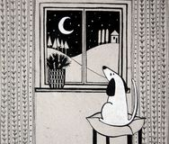 Illustration with cute dog looking out the window. Black and white illustration with cute dog looking out the window Royalty Free Stock Photo