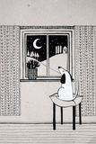 Illustration with cute dog looking out the window. Black and white illustration with cute dog looking out the window Royalty Free Stock Images
