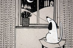 Illustration with cute dog looking out the window. Black and white illustration with cute dog looking out the window Stock Photos