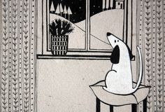 Illustration with cute dog looking out the window. Black and white illustration with cute dog looking out the window Royalty Free Stock Photography