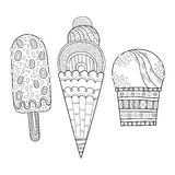 Black and white illustration of decorated ice cream for coloring book. Dessert, sweet food. Vector Stock Image