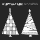 Black and white illustration of decorative Christmas trees on black background. Festive stickers. Black and white illustration of decorative Christmas trees Stock Photography