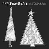 Black and white illustration of decorative Christmas trees. Festive stickers. Vector illustration Royalty Free Stock Image