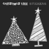 Black and white illustration of decorative Christmas trees. Festive stickers. Vector illustration Stock Photography