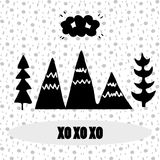 Black and white illustration depicting mountains and fir-trees, with a cheerful inscription `hohoho`. For the decor of the children`s bedroom, print on the T Stock Photos