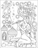 Black and white illustration of fairy playing the flute for coloring. Worksheet for children and adults. Royalty Free Stock Photography