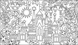 Black and white illustration of fairyland castle for coloring. Royalty Free Stock Image