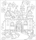 Black and white illustration of fairyland medieval castle for coloring. Royalty Free Stock Photos