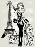 Black and white illustration of Fashion woman near Eiffel Tower with baggage Stock Images