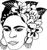 Black and white illustration fhalo khalo. Illustration of flowers and artistic woman royalty free illustration