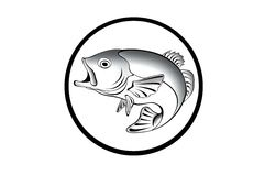 Black and white illustration of a fish. With black frame stock illustration