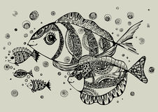 Black and white illustration of fish Stock Photos