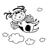 Black and white illustration of flying funny cow in the sky with clouds. Stock Image