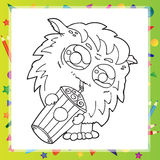 Black and White Illustration of Funny Monster Royalty Free Stock Image