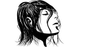 Linear illustration of a girl with wet hair royalty free illustration