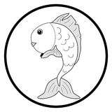 Black and white illustration goldfish Stock Photo