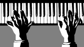 Black and white illustration of hands playing the piano. Stock Image