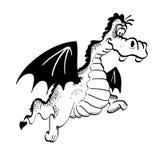 Black and white illustration of a happy cartoon dragon. Royalty Free Stock Photo