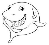 Happy cartoon shark. Black and white illustration of a happy cartoon shark Stock Photo