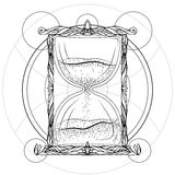 Black and white illustration of an hourglass Stock Photography