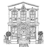 Black and white illustration of a house. Vector. Royalty Free Stock Photos