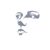Black and white illustration of lady face, delicate visage featu Stock Images