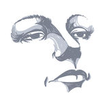 Black and white illustration of lady face, delicate visage featu Royalty Free Stock Photography