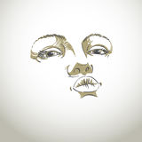 Black and white illustration of lady face, delicate visage featu Royalty Free Stock Photos
