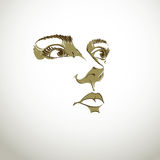 Black and white illustration of lady face, delicate visage Stock Images