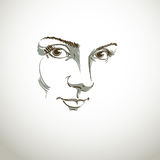 Black and white illustration of lady face, delicate visage features Royalty Free Stock Photo