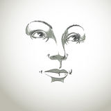 Black and white illustration of lady face, delicate visage Stock Photography