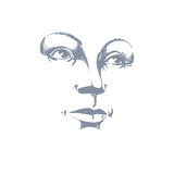 Black and white illustration of lady face, delicate visage Royalty Free Stock Images
