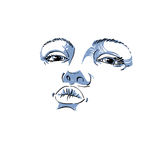 Black and white illustration of lady face, delicate visage Royalty Free Stock Photo