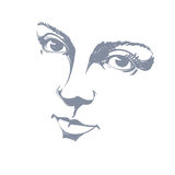 Black and white illustration of lady face, delicate visage Royalty Free Stock Photography
