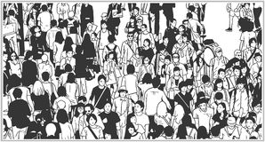 Black and white illustration of large city crowd from high angle view. Stylzied drawing of city crowd in black and white Stock Photos
