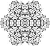 Black and white illustration of a mandala - a flower of life. Buddha and mehendi. Cosmic flower Royalty Free Stock Photos